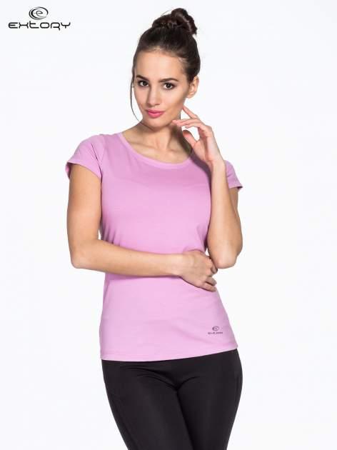 Jasnofioletowy damski t-shirt sportowy basic PLUS SIZE                                  zdj.                                  1