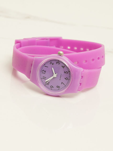 Jasnofioletowy mały silikonowy zegarek damski owijany wokół nadgarstka