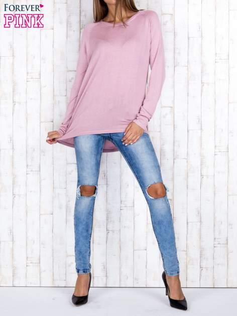 Jasnofioletowy sweter z dłuższym tyłem i zakładką na plecach                                  zdj.                                  2