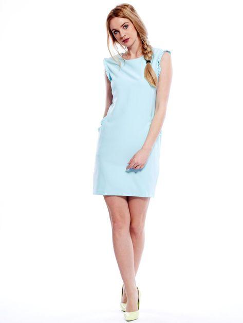 Jasnomiętowa sukienka z drobnymi falbankami                                  zdj.                                  4