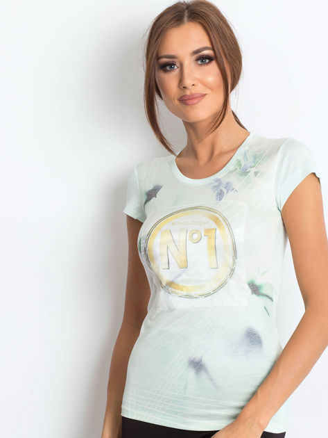 Jasnomiętowy t-shirt z graficznym nadrukiem                              zdj.                              1