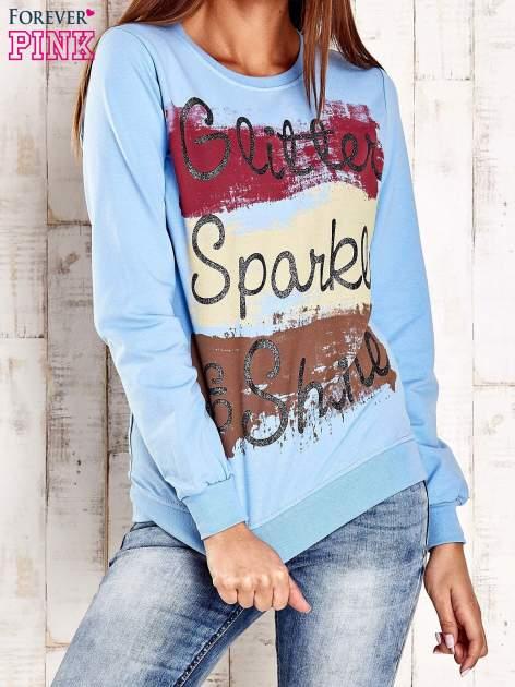 Jasnoniebieska bluza z napisem GLITTER SPARKLE SHINE
