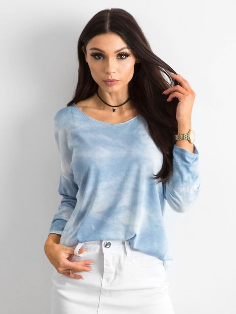 Jasnoniebieska bluzka damska z długim rękawem                              zdj.                              1