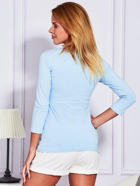 Jasnoniebieska bluzka lace up                              zdj.                              2
