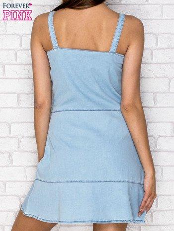 Jasnoniebieska denimowa sukienka na ramiączkach                                  zdj.                                  2