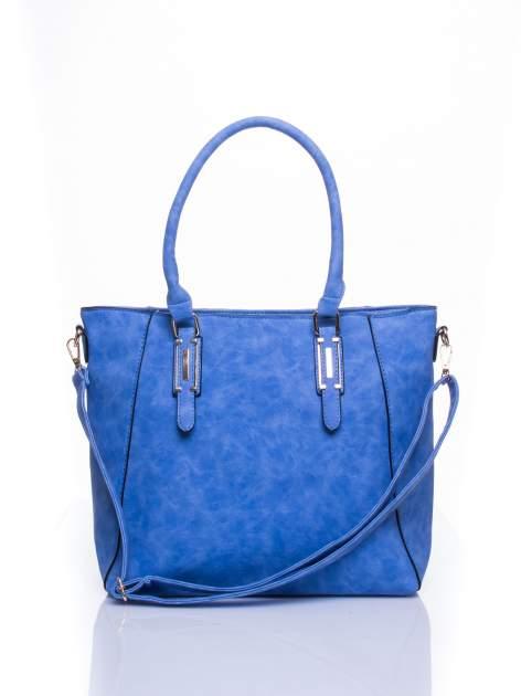 Jasnoniebieska fakturowana torba z odpinanym paskiem                                  zdj.                                  1