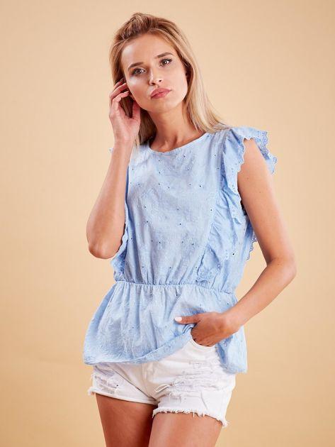 Jasnoniebieska haftowana bluzka z marszczeniem                              zdj.                              1