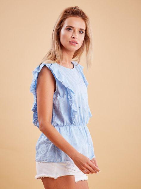 Jasnoniebieska haftowana bluzka z marszczeniem                              zdj.                              3
