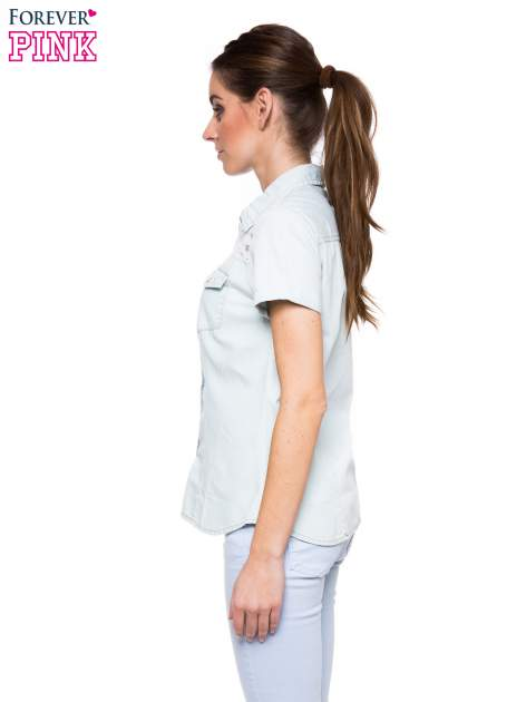 Jasnoniebieska jeansowa koszula na krótki rękaw z koronką                                  zdj.                                  3