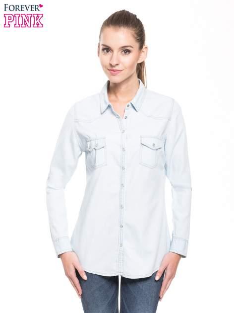 Jasnoniebieska klasyczna koszula jeansowa z długim rękawem                                  zdj.                                  1