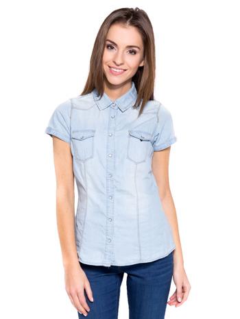 Jasnoniebieska koszula jeansowa z krótkim rękawem                                  zdj.                                  2