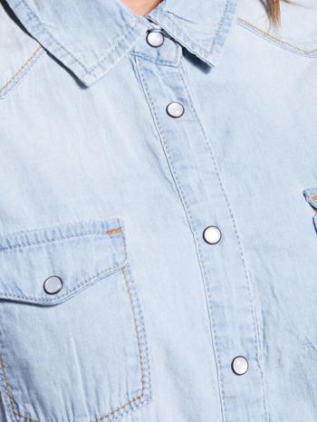 Jasnoniebieska koszula jeansowa z krótkim rękawem                                  zdj.                                  5
