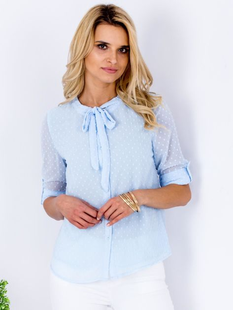 Jasnoniebieska koszula z krawatką                              zdj.                              1