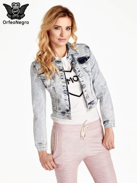 Jasnoniebieska kurtka jeansowa damska z efektem acid wash