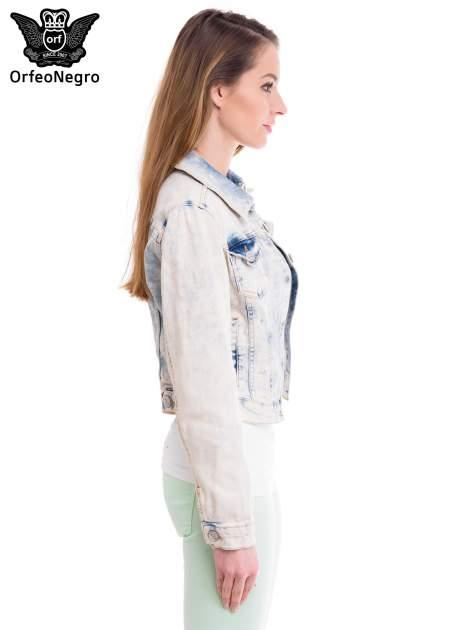 Jasnoniebieska marmurkowa kurtka jeansowa damska                                  zdj.                                  3