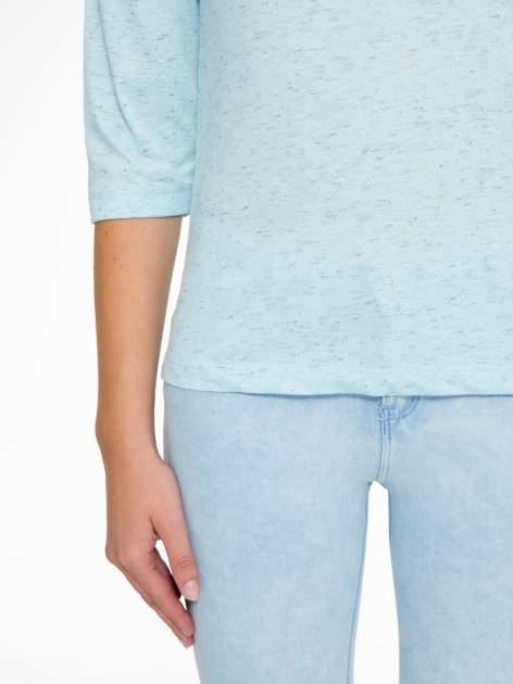 Jasnoniebieska melanżowa bluzka z rękawami 3/4                                  zdj.                                  7