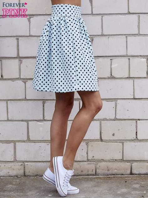 Jasnoniebieska spódnica w grochy z plisami                                  zdj.                                  3
