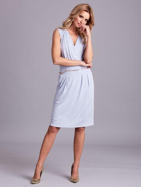 Jasnoniebieska sukienka z dekoltem na plecach                              zdj.                              4