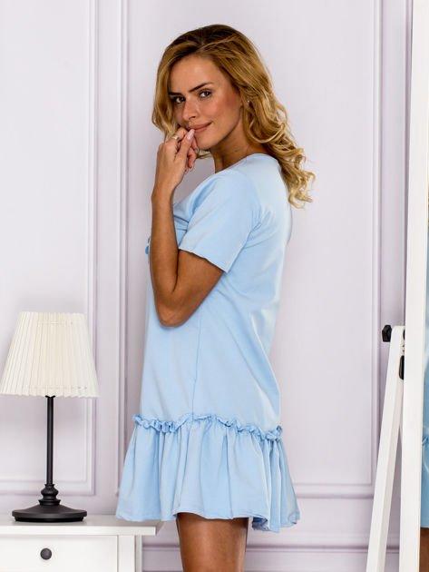 Jasnoniebieska sukienka z falbaną                                  zdj.                                  5