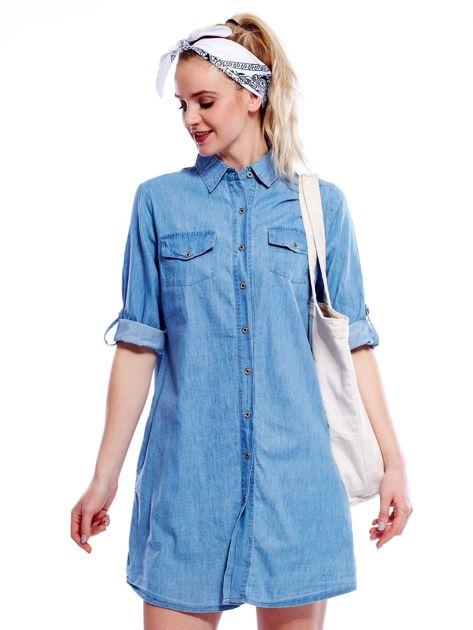 Jasnoniebieska sukienka z kołnierzykiem                              zdj.                              1