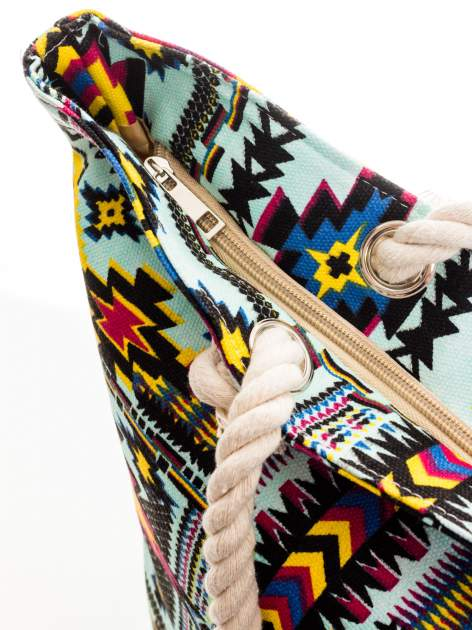 Jasnoniebieska torba plażowa w azteckie wzory                                  zdj.                                  6