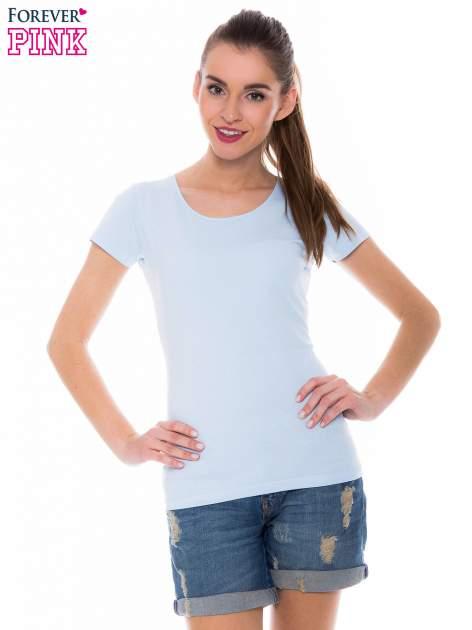 Jasnoniebieski basicowy t-shirt z okrągłym dekoltem