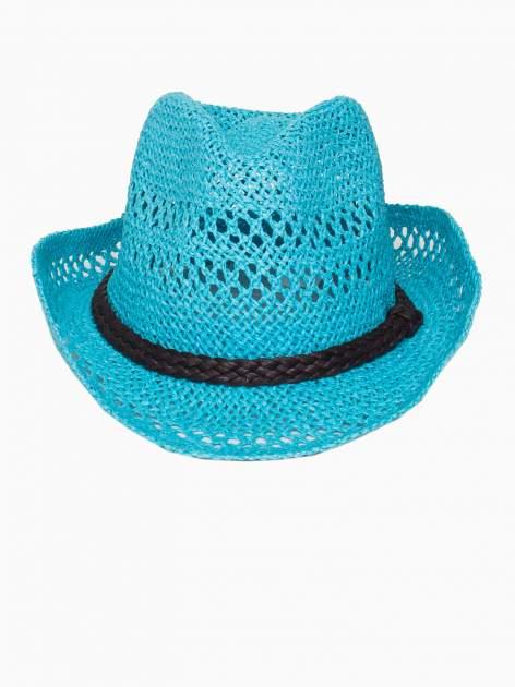 Jasnoniebieski damski kapelusz kowbojski z ciemną plecionką                                  zdj.                                  2
