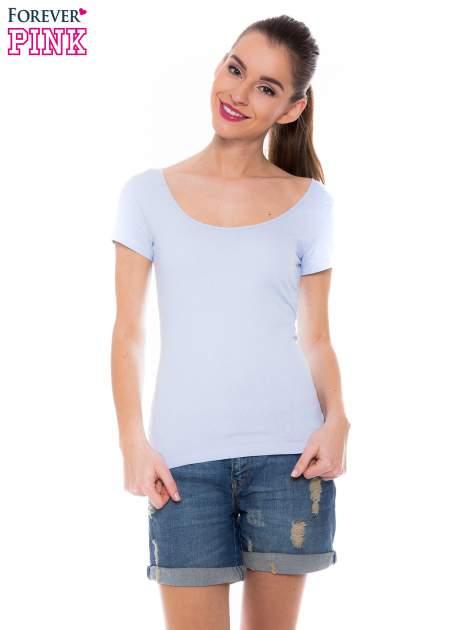 Jasnoniebieski gładki t-shirt z marszczeniem z tyłu                                  zdj.                                  1