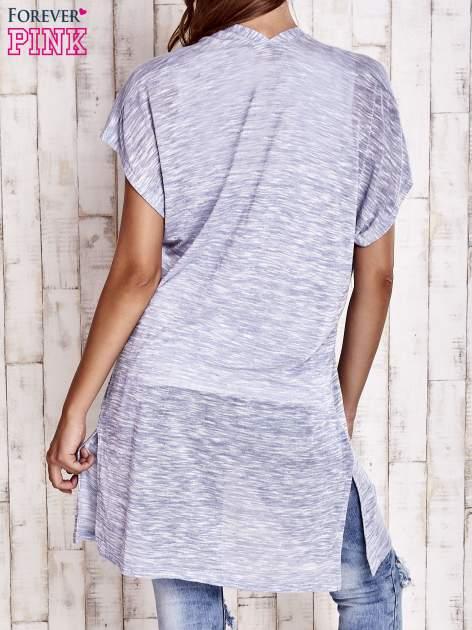 Jasnoniebieski melanżowy długi sweter                                  zdj.                                  4