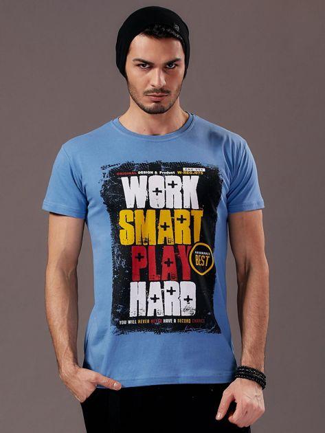 Jasnoniebieski t-shirt męski Work Smart                               zdj.                              1