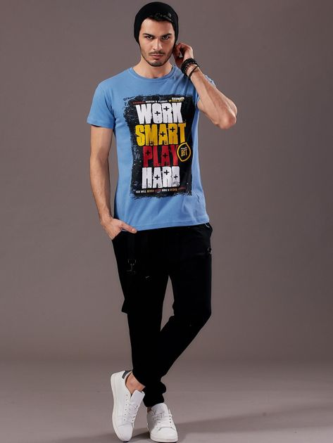 Jasnoniebieski t-shirt męski Work Smart                               zdj.                              4