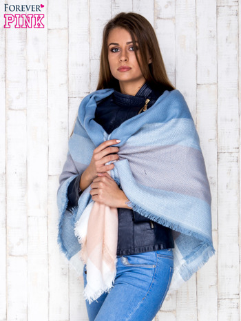 Jasnoniebieski wełniany szalik w szeroką kratę                                  zdj.                                  3