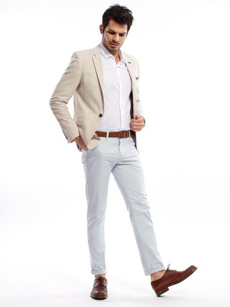 Jasnoniebieskie bawełniane spodnie męskie                               zdj.                              14
