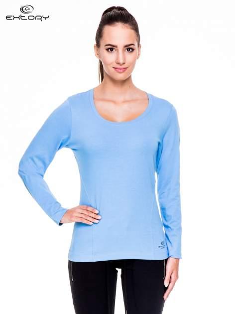 Jasnoniebieskie bluzka sportowa z dekoltem U                                  zdj.                                  1