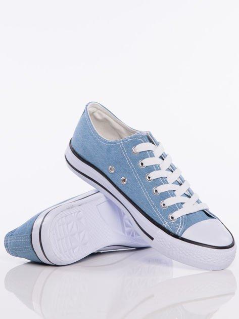 Jasnoniebieskie denim jeansowe trampki na białej podeszwie                              zdj.                              4