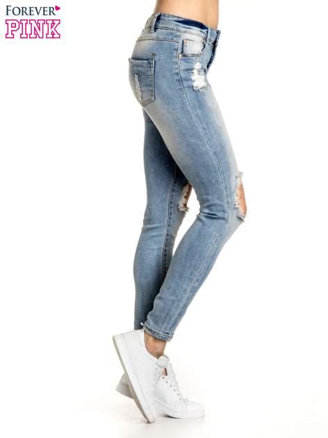 Jasnoniebieskie spodnie skinny jeans ripped knee                                  zdj.                                  2