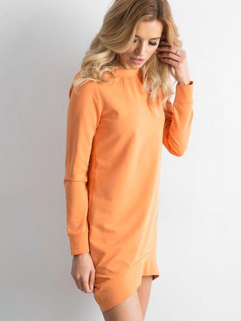 Jasnopomarańczowa dresowa tunika basic                              zdj.                              1