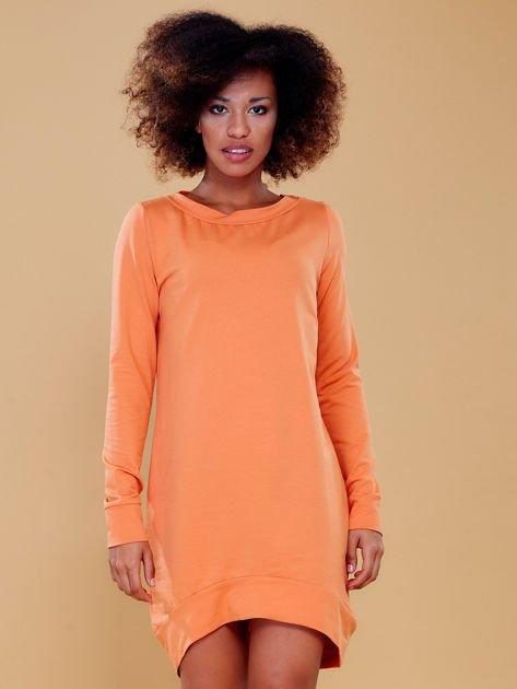 Jasnopomarańczowa dresowa tunika basic                              zdj.                              8