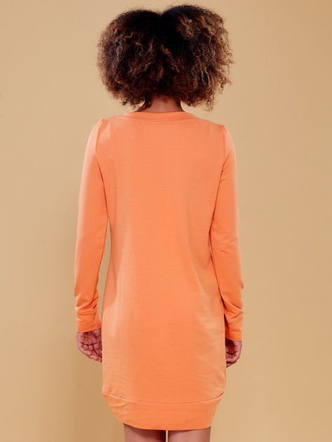 Jasnopomarańczowa dresowa tunika basic                              zdj.                              7