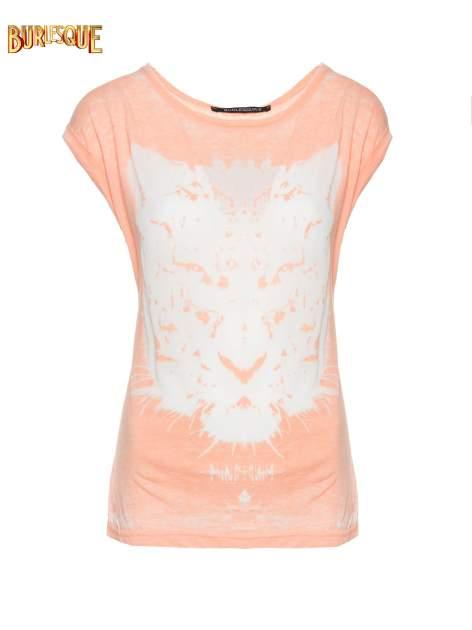 Jasnopomarańczowy t-shirt z nadrukiem tygrysa