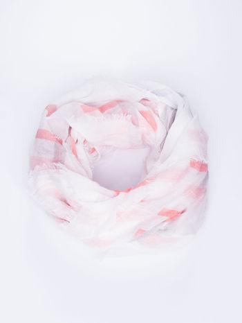 Jasnoróżowa bawełniana chustka z frędzelkami                                  zdj.                                  1