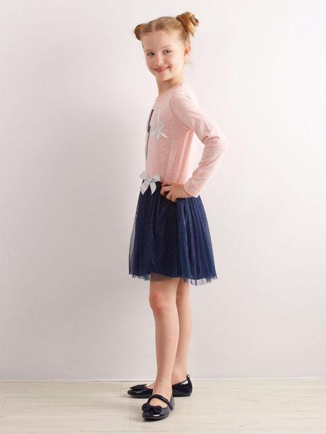 Jasnoróżowa bawełniana sukienka dla dziewczynki                              zdj.                              3