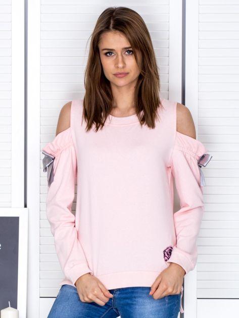 Jasnoróżowa bluza cut out z wstążkami                              zdj.                              1
