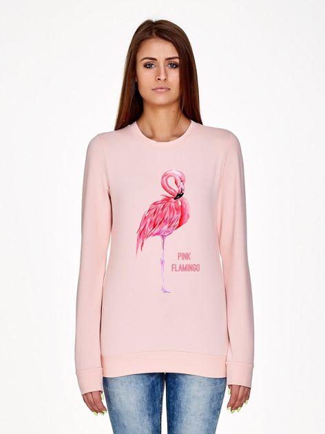 Jasnoróżowa bluza damska z nadrukiem
