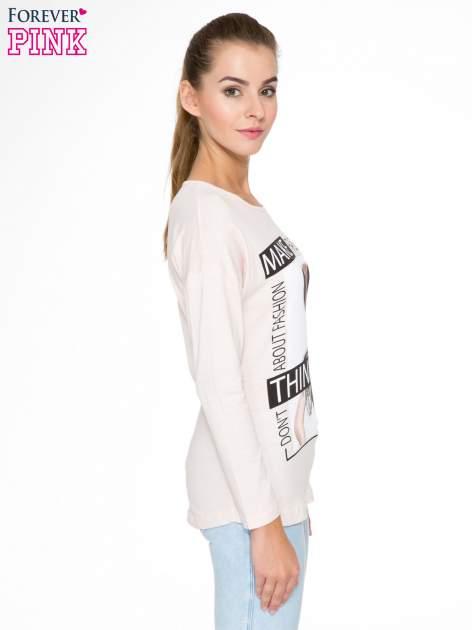 Jasnoróżowa bluzka w stylu fashion                                  zdj.                                  3