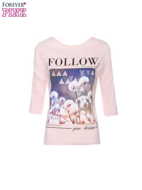 Jasnoróżowa bluzka z napisem FOLLOW YOUR DREAMS                                  zdj.                                  2