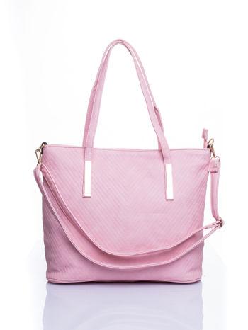 Jasnoróżowa fakturowana torba shopper bag