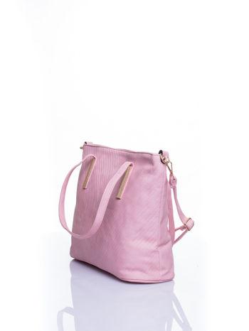 Jasnoróżowa fakturowana torba shopper bag                                  zdj.                                  4
