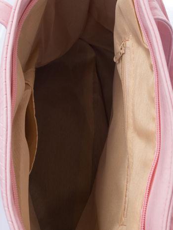 Jasnoróżowa fakturowana torba shopper bag                                  zdj.                                  5