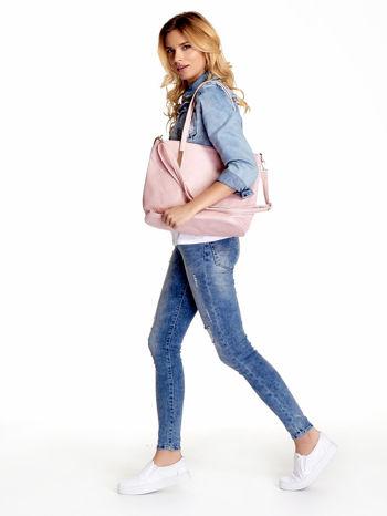 Jasnoróżowa fakturowana torba shopper bag                                  zdj.                                  6